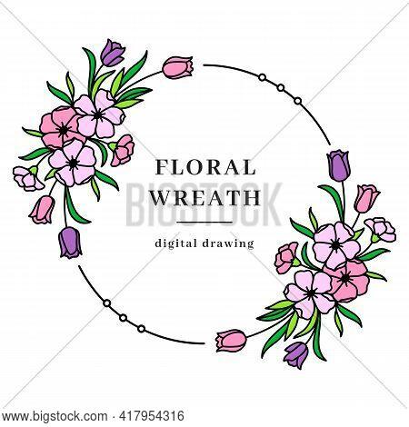 Vector Floral Wreath, Spring Floral Frame, Flower Circle Monogram