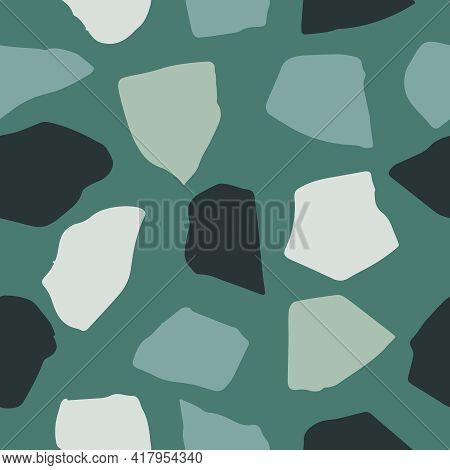Terrazzo Flooring Vector Seamless Pattern. Classic Venetian Terrazzo Style Of Floor Of Stone, Granit