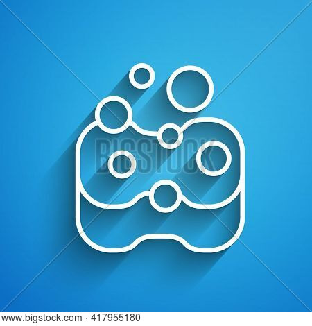 White Line Sponge Icon Isolated On Blue Background. Wisp Of Bast For Washing Dishes. Cleaning Servic