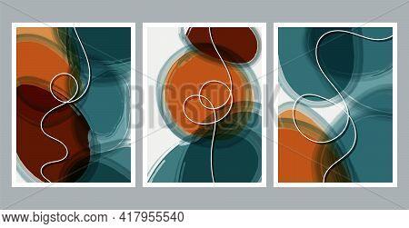 Scandinavian Design. Modern Art Print. Contemporary Design. Set Of Fluid Geometric Shapes. Abstract