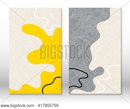 Yellow, Grey Colors. Modern Abstract Painting. Set Of Fluid Geometric Shapes. Abstract Hand Drawn Wa