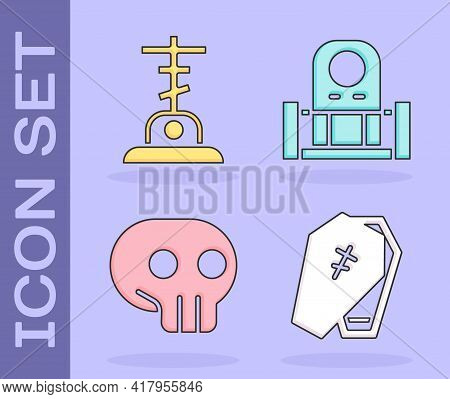 Set Coffin With Cross, Grave With Cross, Skull And Grave With Tombstone Icon. Vector