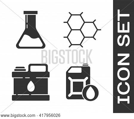 Set Canister For Motor Machine Oil, Test Tube And Flask, Canister For Motor Machine Oil And Chemical