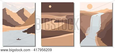 Abstract Contemporary Aesthetic Backgrounds Landscapes Set With Mountains, River, Lake, Desert, Sand