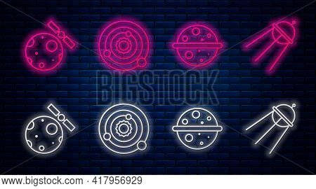Set Line Solar System, Planet Venus, Satellites Orbiting The Planet Earth And Satellite. Glowing Neo