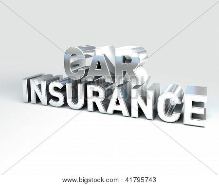 Metal Text Car Insurance