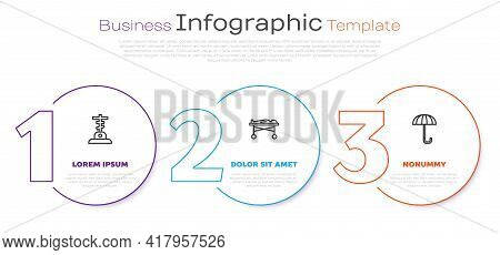 Set Line Grave With Cross, Dead Body In The Morgue And Umbrella. Business Infographic Template. Vect