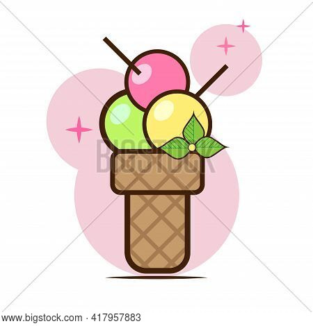 Vector Icon Of Ice Cream In A Waffle Cup In Flat Style. A Sweet Dessert With Three Balls Of Multi-co