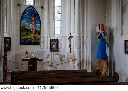 Church Interior, Neo-gothic Chapel, Ruins Of Horni Hrad, Renaissance Or Neo-renaissance Fragments, A