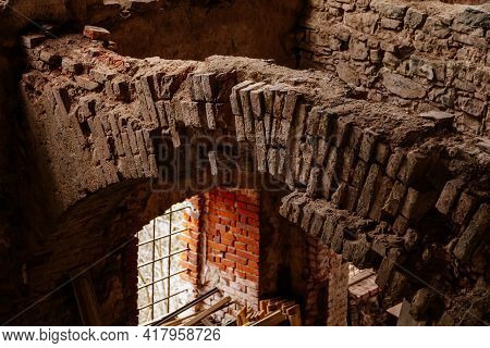 Сastle Interiors, Brick Walls, Restoration Works, Ruins Of Horni Hrad, Gothic And Renaissance Or Neo