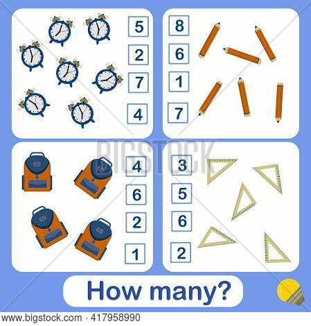 Educational Counting Math Game For Preschool Children On The Theme Of Fruits. Count The Number Of Al