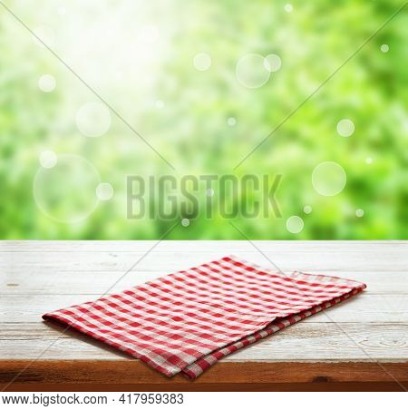 Napkin. Tablecloth Tartan, Checkered, Dish Towels On Wooden Table Perspective. Summer Background.