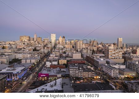 SAN FRANCISCO, CALIFORNIA - JAN 14: Dusk view of Nob Hill tourist district. San Francisco's 80% hotel occupancy has pushed average room rates above $155 per night on Jan 14, 2013 in San Francisco, Ca.