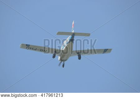 Piper Pa 28-181 Archer Ii Is Approaching At The Airport Saint Gallen Altenrhein In Switzerland 21.4.