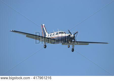 Piper Pa-46-310p Malibu Aircraft Is Approaching The Airport Saint Gallen Altenrhein In Switzerland 2