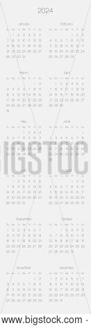 Monthly Calendar Of Year 2024. Week Starts On Sunday. Block Of Months In Two Columns Vertical Arrang