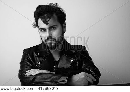 Black And White Photo Of Bearded Man. Handsome Confident Perfect Hairstyle Man.