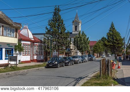 Houses On A Street In Puerto Natales, Chile