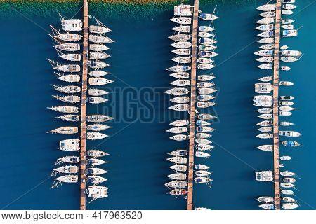 Yacht Club With Yachts Docked In Marine Bay In Turkey.