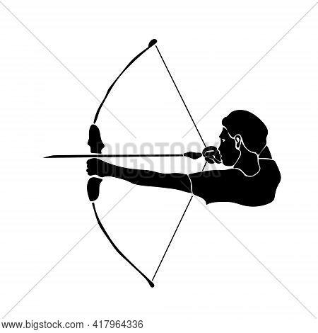 Zodiac Sign Sagittarius Silhouette, One Of The 12 Horoscope Signs, Man Shooting A Bow Vector Illustr