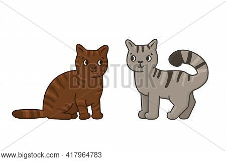 Cute Cartoon Brown And Gray Cats. Vector Outline Doodle Isolated Hand Drawn Illustration On White Ba