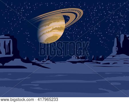 A Lifeless Alien Landscape With A View Of A Desert Area With Rocks And Saturn In The Night Starry Sk