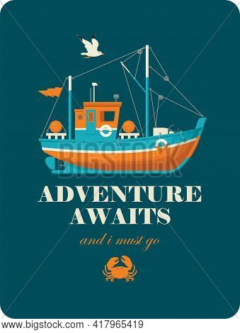 Vector Banner On The Theme Of Travel, Adventure And Discovery In A Flat Style. Illustration With A F