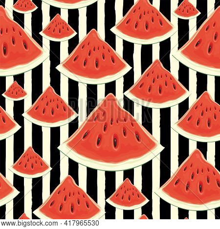 Fruit Seamless Pattern With Appetizing Watermelon Slices On A Black White Striped Backdrop. Vector B