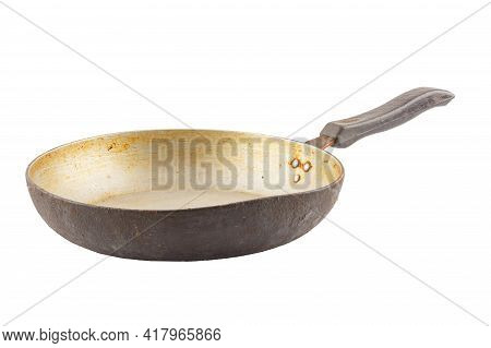 Old Stained Aluminium Pan With Burnt Fat Isolated In White Background