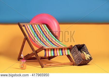 Nice Deck Chair At Improvised Artificial Beach, Complete With In