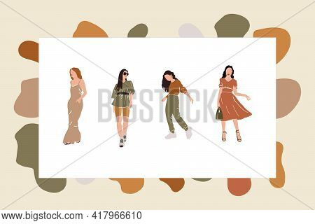 A Collection Of Women For The Poster. Abstract Illustrations Of Dots For The Background. Characters