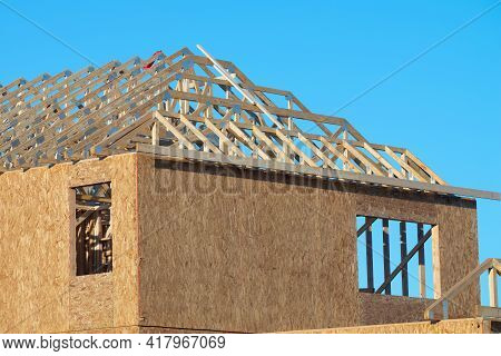 Rafters And Walls Of A Plywood House New Woodwork Work Property