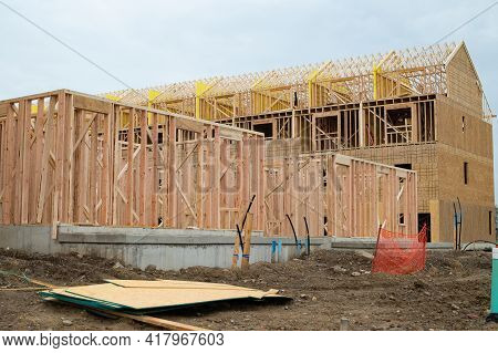 Rafters And Walls Of A Plywood House New Woodwork Work Building Work