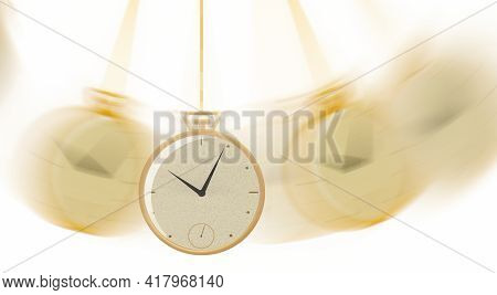 A Gold Pocket Watch Is Seen Swinging A Fob In This 3-d Illustration.