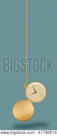 A Gold Pocket Watch Is Seen Hanging From A Fob In This 3-d Illustration.