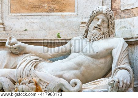Fountain Of River God Marforio, Or Ocean, In The Courtyard Of Capitoline Museum, Rome
