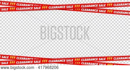 Clearance Sale Ribbon Border Frame For Discount Advertising. Crossed Restriction Tape On Transparent
