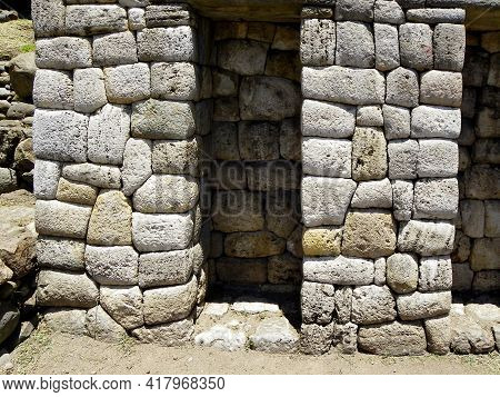 Archaeological Site Todos Santos.fragment Of Limestone Wall Of Inca With Niches Related To Worship O