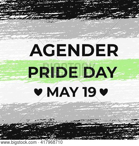 Agender Pride Day Poster With Transgender Pride Flag. Lgbt Community Holiday Celebrate On May 19. Ea