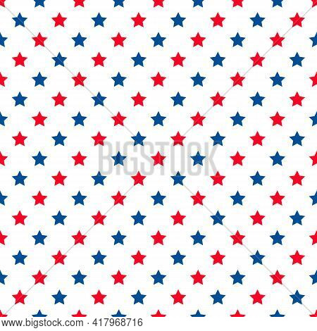 American Patriotic Seamless Pattern. Usa Traditional Backdrop. White Stars On Blue Background. Vecto