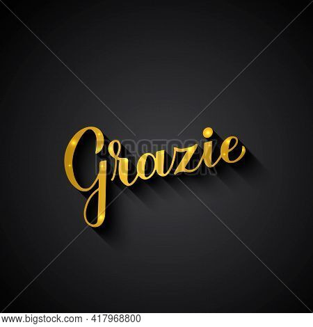 Thank You In Italian Language. Gold Lettering On Black Background. Vector Template For Wedding Thank