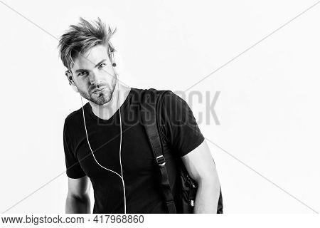 Download Music Application. Man Tousled Hairstyle Wear Plastic Earphones Gadget. Student Handsome Gu