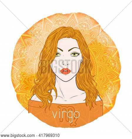 Astrology Card With Zodiac Sign Virgo And Beautiful Woman Portrait On A Decorative Watercolor Backgr