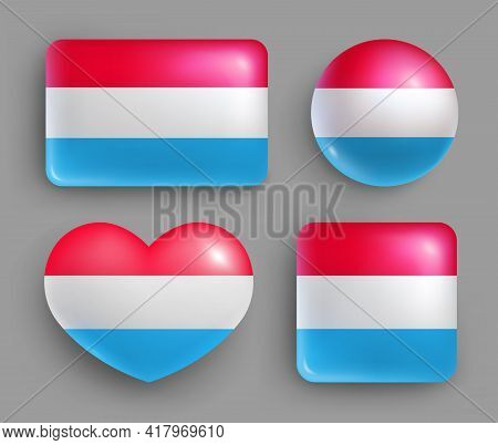 Glossy Buttons With Luxembourg Country Flags Set. European Country National Flag Shiny Badges Of Dif