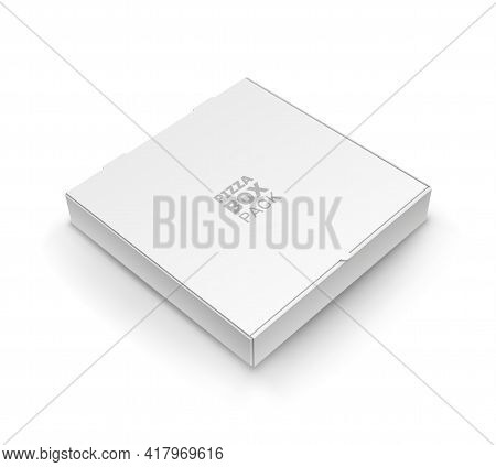 Top View Of Blank Closed Pizza Box Pack Template. White Realistic Cardboard Packaging Design. Pizza