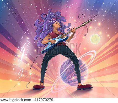 Guitarist On Stage With A Guitar On Space Background With Planets, Galaxies And Stars. Music Player