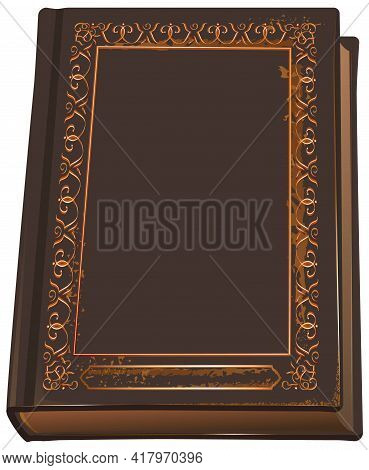 Closed Book With Leather Cover. Blank Template Book Bible Or Quran