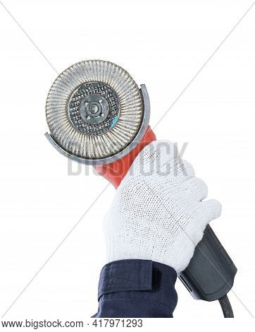 Hand In Glove Holding Circular Saw With An Abrasive Disk On White