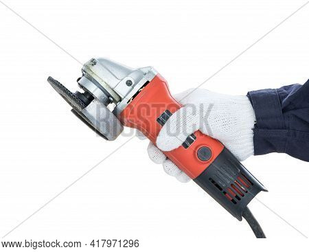 Hand in glove holding Circular saw with an abrasive disk for wood grinding isolated on white