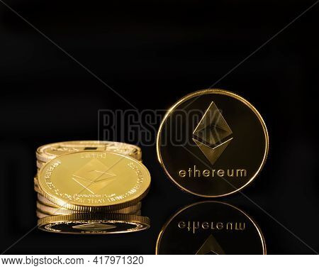 Ethereum Cryptocurrency Digital Bit Coin Eth Currency Concept ,golden Coins With Ethereum Symbol On
